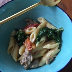 Creamy Kale, Sausage, & Sun Dried Tomatoes Penne